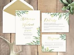 wedding invitations greenery greenery with gold foil wedding invitation by littlebridgedesign