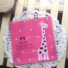 cookie party supplies 100pcs giraffe pink cookie packaging bags small plastic bags
