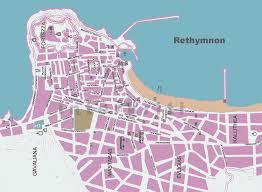 Crete Map Interkriti Maps Of Crete Greece Scanned Map Of Rethymnon City
