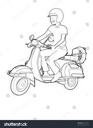 free man rides scooter city outline stock vector 95273377