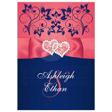 navy blue wedding invitations coral pink and navy floral joined hearts printed ribbon wedding