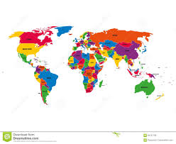world map political with country names free multi colored political vector map of world with national borders