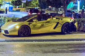 Gold Lamborghini Gallardo Spyder And Bentley Continental Crash In