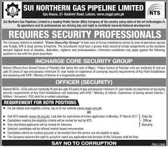 Ministry Of Interior Jobs Sngpl Officer Jobs 2017 Latest Sui Northern Gas Pipeline Limited