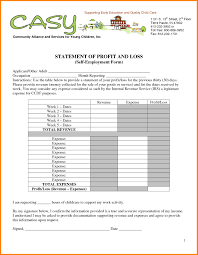 Monthly Profit And Loss Statement Template by Profit And Loss Template For Self Employed