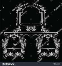 vector baroque furniture dressing table mirror stock vector
