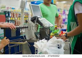Supermarket Cash Desk Cash Desk Cashier Serving Customers Supermarket Stock Photo
