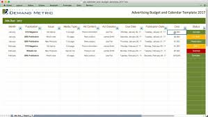 Sample Spreadsheet Budget by Advertising Calendar U0026 Budget Template 2017 Demand Metric