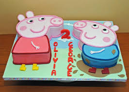 peppa and george birthday cake for twin brother and sister