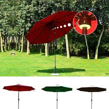 outsunny 9 u0027 solar led market patio umbrella w bluetooth patio