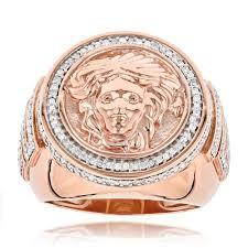 gold diamond rings 14k gold diamond mens versace style ring 1 88ct medusa