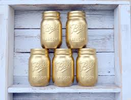 Gold Centerpiece Vases Gold Mason Jars Set Of 5 Handpainted Pint Jars For Gold Wedding