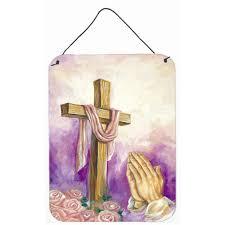 caroline s treasures easter cross with praying painting print