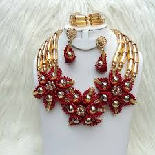 gold beaded necklace set images Latest design gold dark red african nigerian beads necklace bridal jpg