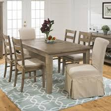 rectangular table ladderback chair and slipcover skirted parson