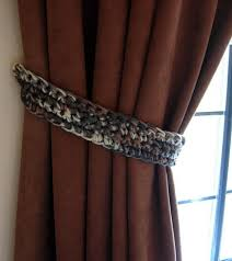 What Is A Curtain Handmade Crochet Knit Brown Cream Gray Curtain Tiebacks Aftcra