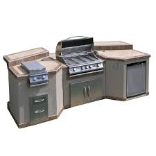 outdoor kitchen island outdoor kitchens the home depot 3 piece island with 4 burner bbq grill and rotisserie