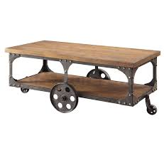 wood and wrought iron table industrial cart coffee table new dark wood and wrought iron coffee