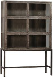 wood and glass cabinet vitrine on iron legs armoires large