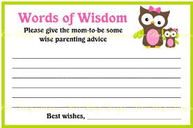 words of wisdom cards printable pink owl with girl owl 2 baby shower word of