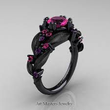 pink and black engagement rings nature classic 14k black gold 1 0 ct pink sapphire amethyst leaf