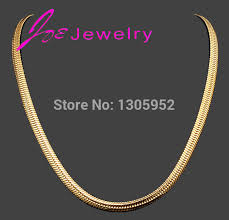 fine jewelry necklace store images Fashion simple design gold color flat curb chain necklaces for jpg