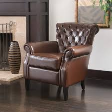 chairs leather club chair brown small living room inspirations
