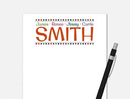 this family billboard notepad features a bold font in a bright and