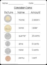 canadian money worksheet math candian coins pinterest