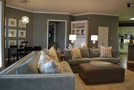 Modern Family Living Space In Grey Modern Family Room - Modern family room furniture