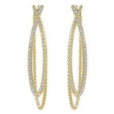 gold diamond hoop earrings 14k yellow gold rope diamond hoop earrings