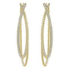 hoop diamond earrings 14k yellow gold rope diamond hoop earrings