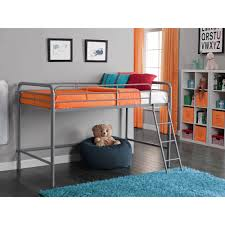 junior metal loft bed with bonus twin mattress bundle walmart com