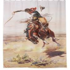 vintage western cowboy on a bucking horse shower curtain western