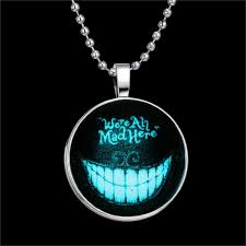 wholesale fashion devil smile style necklace glass cabochon silver