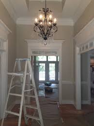decor benjamin moore pewter with chandelier and wooden floor for
