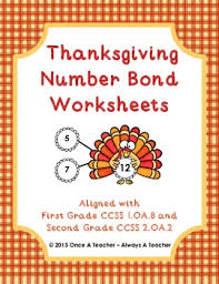 thanksgiving number bond worksheets by once a always a