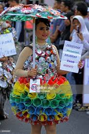 riau recycled fashion festival pictures getty images