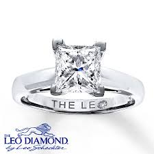 2 carat white gold engagement ring leo ring 2 carat princess cut 14k white gold