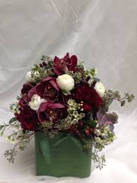 marsala centerpiece wine burgundy crimson orchids eucalyptus