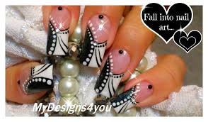 black and white nail art monochrome french tip nails youtube