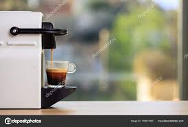Coffee Maker Table Espresso Coffee Machine On A Wooden Table Blur Background Space