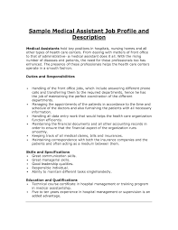 Example Resume For Medical Assistant by Medical Assistant Job Description Resume The Letter Sample
