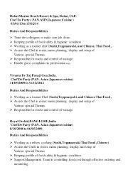 Sous Chef Job Description Resume by Chef Duties Resume Cv Cover Letter