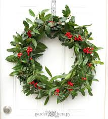 a merry fresh wreath for garden therapy