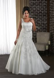 plus size fit and flare wedding dress fit and flare big wedding dress with straps lace embellished