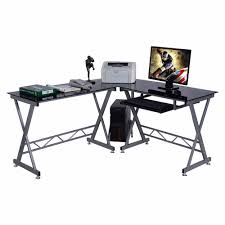 Computer Desk Workstation Shop Goplus L Shape Computer Desk Pc Glass Top Laptop Table