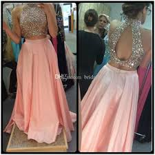 prom dress 2017 unique design high neck beaded crystals peach pink