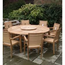 gloucester 8 seat teak round commercial dining set outdoor