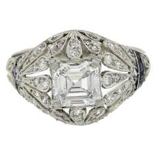 1920s antique art deco 1 24 carat gia asscher diamond platinum